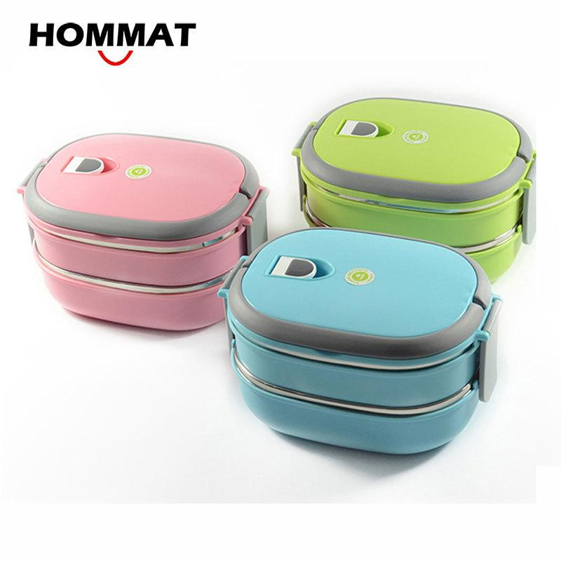 HOMMAT 1 2 Tier Stainless Steel Japanese Bento Lunch Box Thermo Bento Boxes Portable Lunchbox Food Container Thermal Airtight C18112301