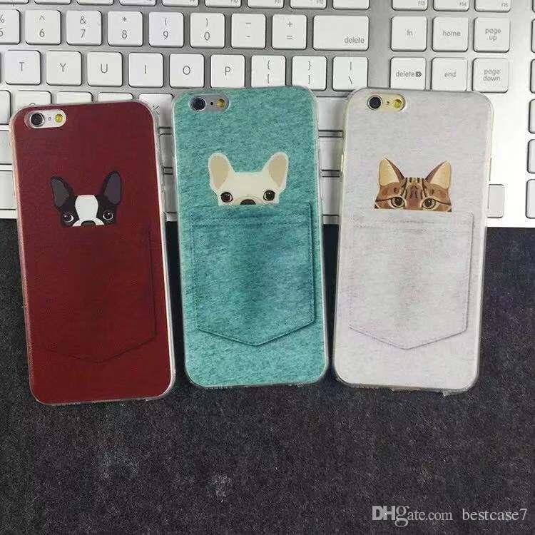 Cute Cartoon Pocket Dog and Cat Protector Shockproof Silicone Rubber Soft TPU Embossed Phone Case Cover For iPhone 6S 7 8 Plus X XS MAX XR
