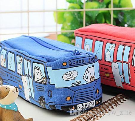 милый школьный автобус пенал, большая емкость холста автомобиль карандаш мешок, оранжевый, красный, желтый, синий доступны lp0094