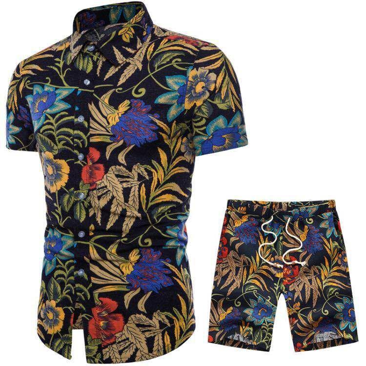 Fashion-Mens Summer Designer Suits Beach Seaside Holiday Shirts Shorts Clothing Sets 2pcs Floral Tracksuits