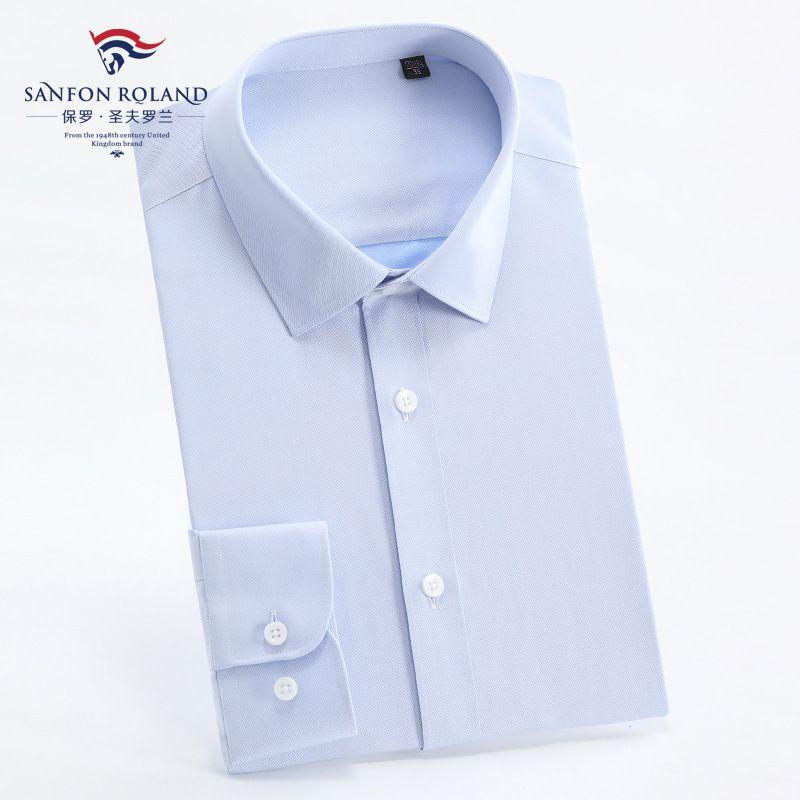 ملابس أعلى نوعية الرجال الدرجة العليا القطن الخالص موانئ دبي جاهزة للارتداء قميص رجالي كم طويل تريم الأعمال الصلبة اللون اللباس الرسمي قمصان DP208