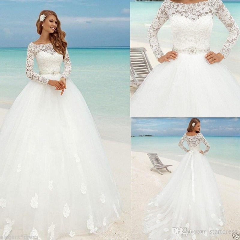Beautiful Beach Long Sleeve Ball Gown Wedding Dresses Boat Neck Lace Floral Fitted Beaded Sash Summer Bridal arabic Bohemian Country CG01