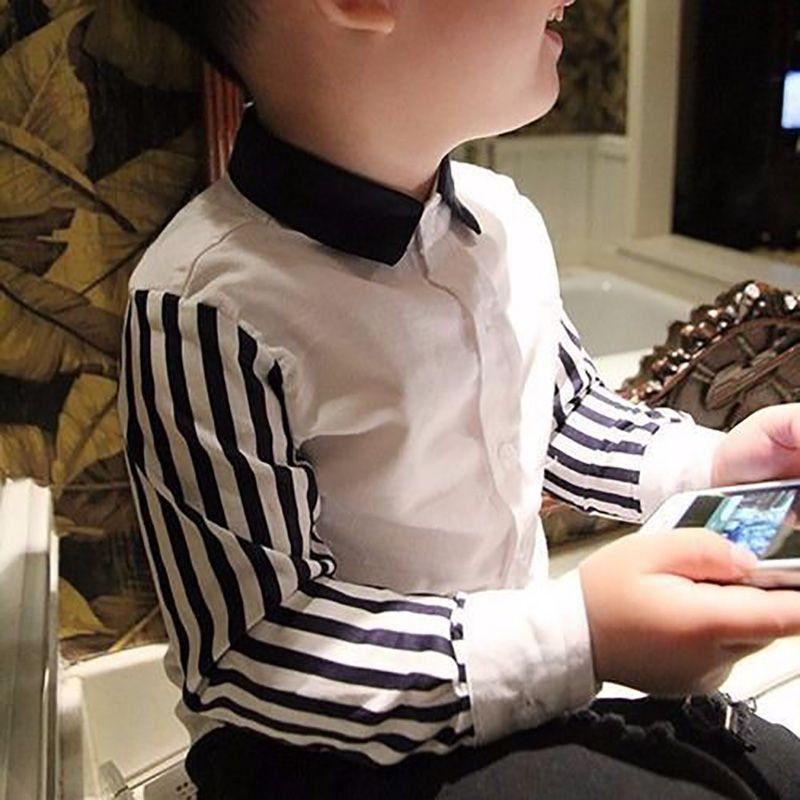 T-shirt per bambini ragazzi a manica lunga a righe Primavera Top stampati Tees camice camicetta casual