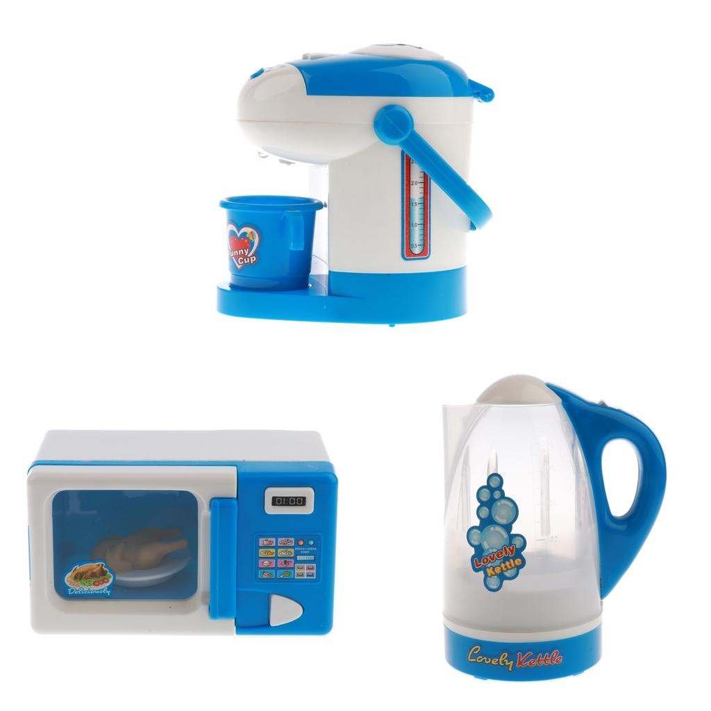 Children Household Toy Pretend Play Kitchen Appliances Microwave Oven /& Kettle