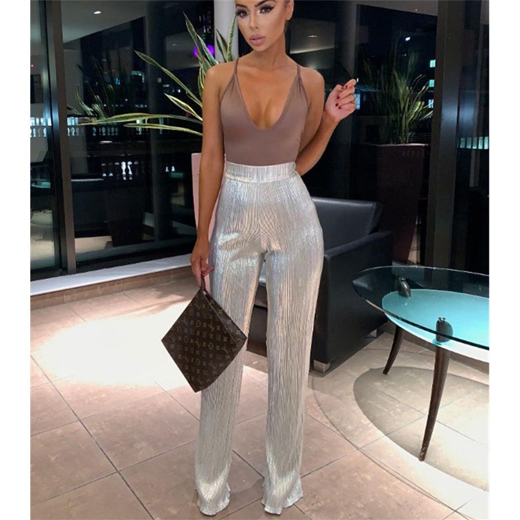 New Glitzer-Pailletten-Hosen-Frauen-hohe Taille breite Bein-Flare Pants Bell-Bottom Mode Büro-Damen Glänzend Lange Hose Pantalon