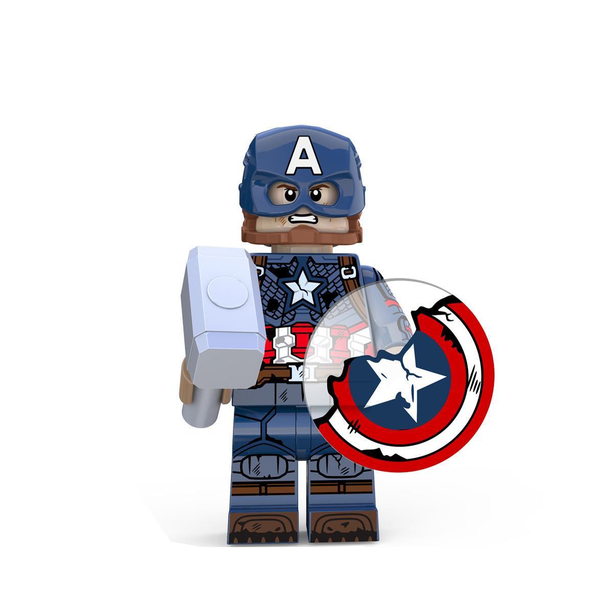 Set of 8 Marvel Avengers Blocks Captain America Steve Rogers