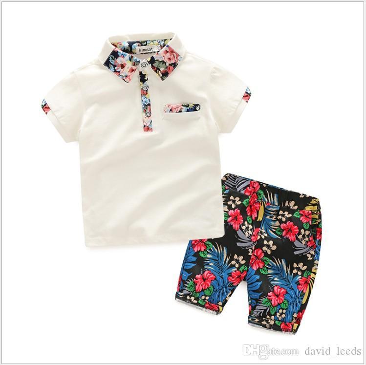 2019 neue Sommer Jungen Gentleman Sets Kinder Kurzarm T-Shirt + Floral Shorts 2 stücke Set Boy Anzug Kinder Outfits 100-110-120-130-140cm
