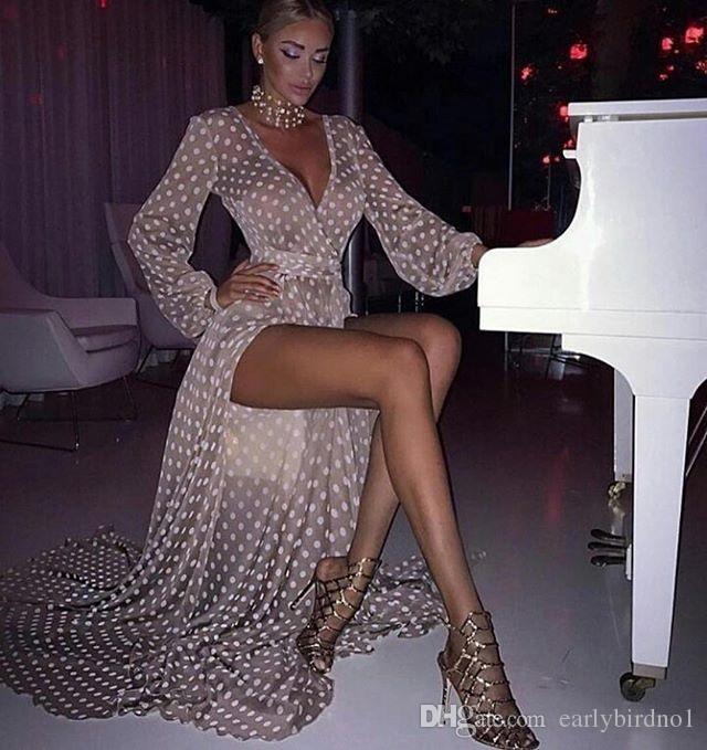 Moda maniche lunghe poeta a maniche party abito vintage onda point alto lato spaccato donne cocktail club abiti a buon mercato abito da sera da prom gatto 2098