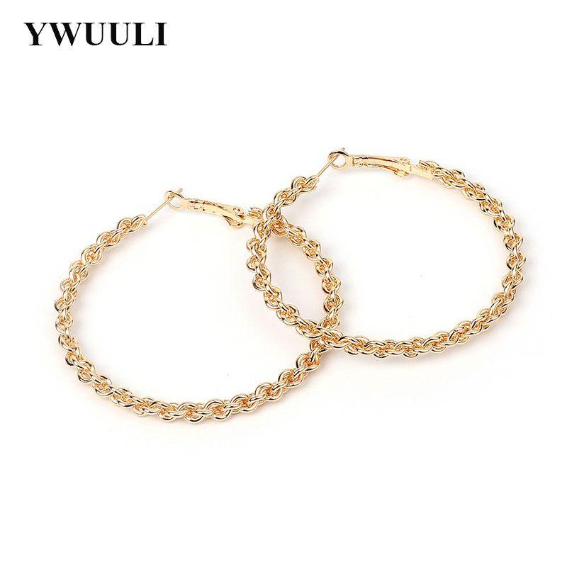 Simples coreana exagerada Big Rodada círculo brincos de argola por Mulheres Weave torcida brincos geométricos Lady moda jóias RY457