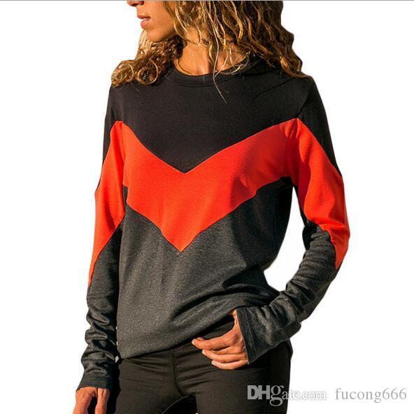 02Neue Damen Casual Hit Farbe Rundhals Langarm-T-Shirt Modisches Top mit geometrischem Print
