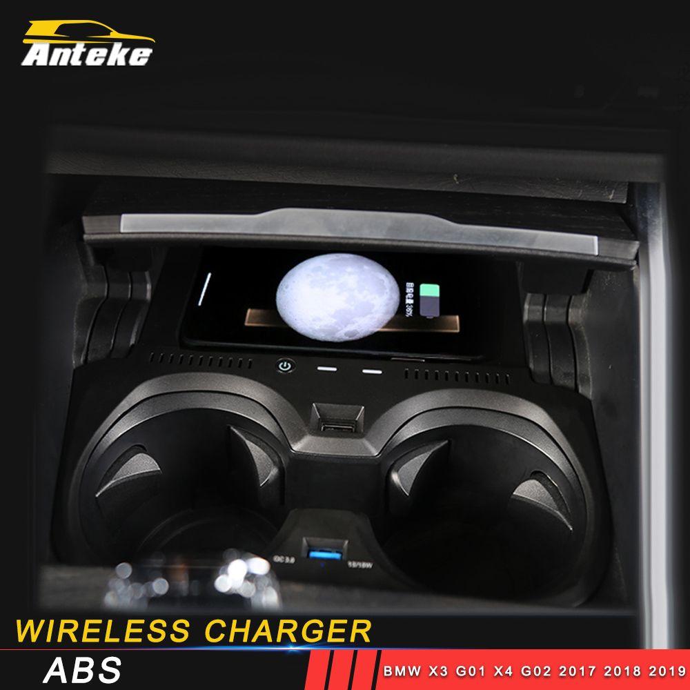 Pour BMW X3 G01 X4 G02 2017 2018 2019 sans fil Chargeur de voiture Mont Center Console Pad automatique du capteur pour Iphone Samsung Google