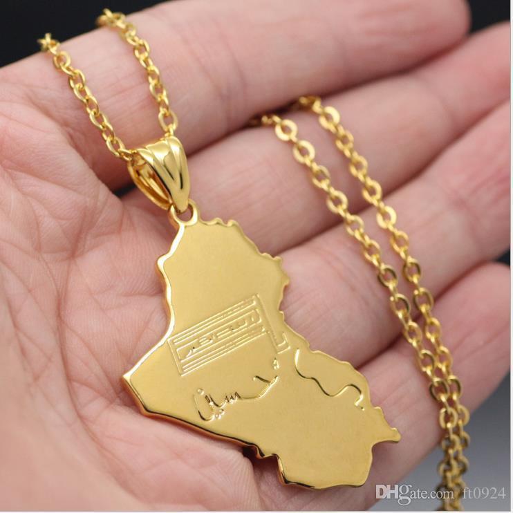 Мода бум заманивает людей, чтобы хорошо выглядеть на золотой карте Ирака, хип-хоп кулон, медь ожерелье ювелирные изделия