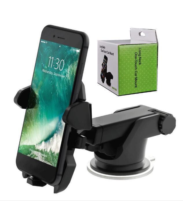 Universale 360 gradi mobile Car Phone Holder 360 gradi Finestra regolabile supporto del parabrezza del cruscotto Supporto per supporto di GPS del telefono con la scatola
