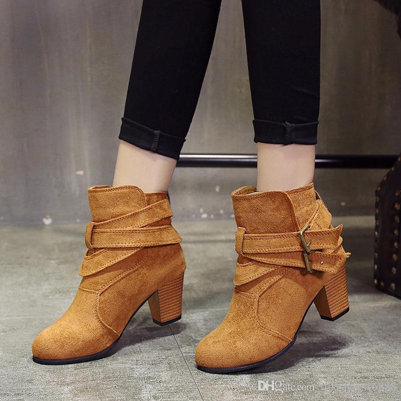 Zapatos Size35-42 hebilla marrón Botas de ante de las mujeres Negro tobillo del tacón alto atractivos del partido Moda Botas Zapatos de Navidad para las mujeres stivali zeppa Donna