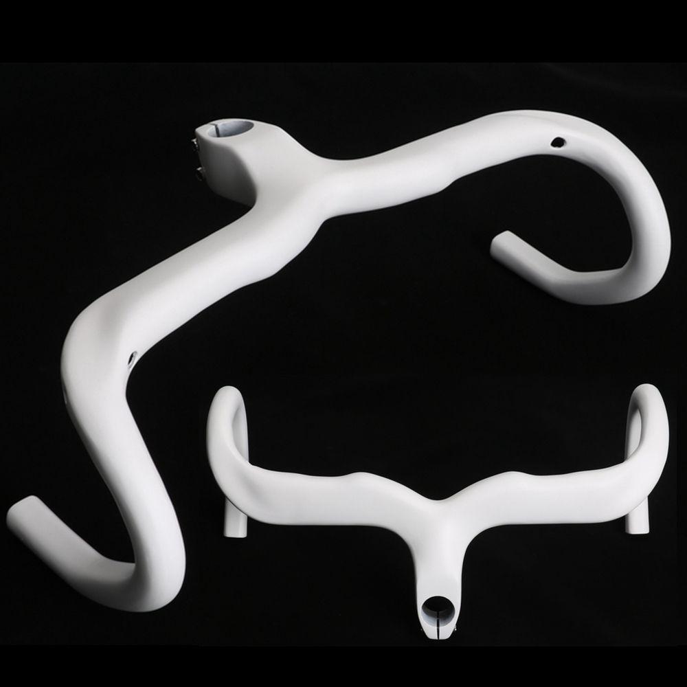 Ultralight White Road Bike Carbon Fibre Integrated Handlebar Racing Bicycle Bent Bar With Stem