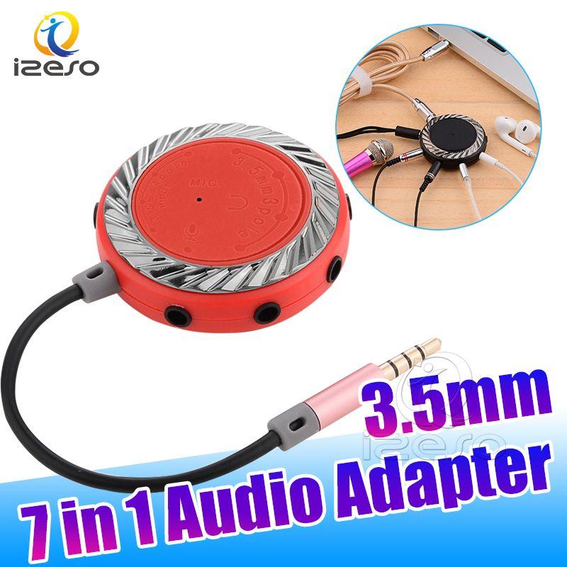 3.5mm 9 Way Port Aux Audio Cable Splitter Adapter ذكر إلى متعدد أنثى الصوت محول جودة عالية للكمبيوتر الهاتف المحمول Izeso