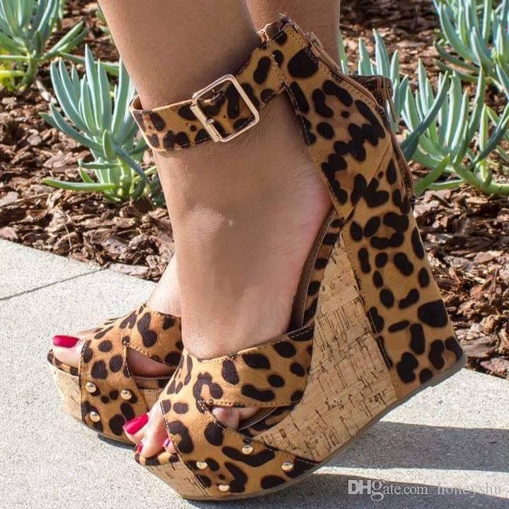 Kolnoo 2019 Popular Sale Ladies Wadges Heel Sandals Leopard Print Leather Dress Shoes Buckle Strap Peep-toe Fashion Party Evening Shoes D196