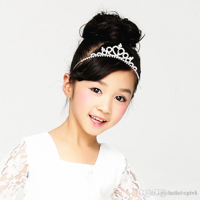 2020 Fleur Girl Headpieces Princesse Couronne Tiara Accessoires Cheveux Strass Love Couronne Belle fille Headpipeeces Crown Wholesale