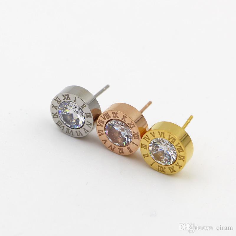 Heißer verkauf mode marke titanium stahl römische liebe ohrringe für frau schmuck 18 karat vergoldet silber / rose farbe breit für frau geschenk