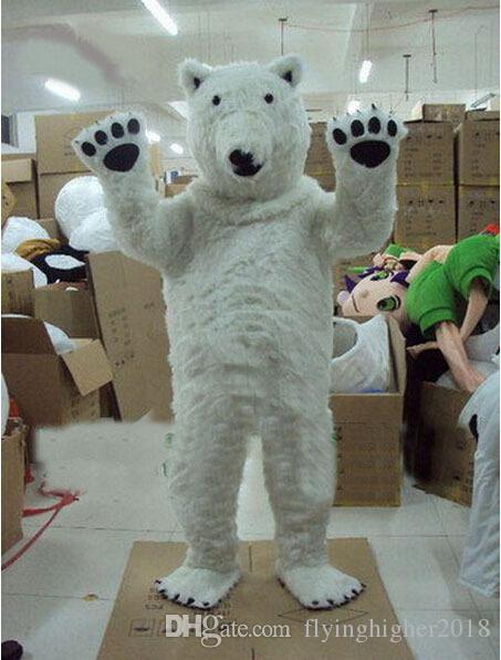 Professional custom Polar Bear Mascot Costume cartoon smile eye white bear Animal Character Clothes Halloween festival Party Fancy Dress