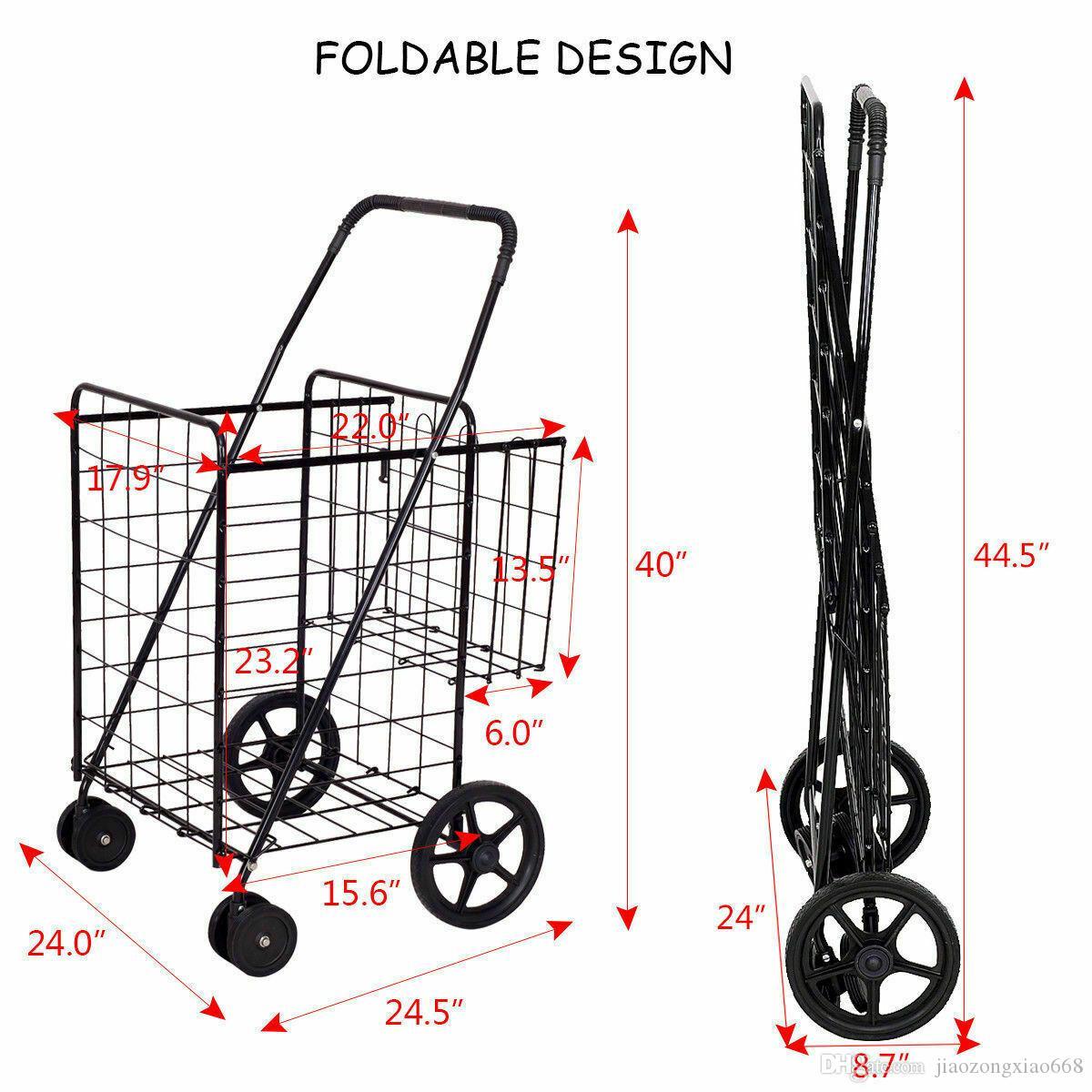 Yeni Yardımcı Alışveriş Sepeti Katlanabilir Jumbo Sepet Açık Bakkal Çamaşırhane W / Tekerlekler
