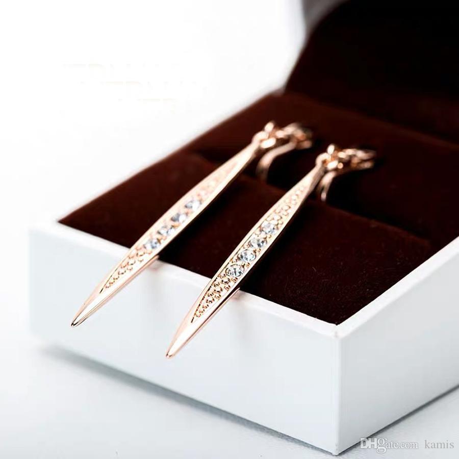 mode clip bande métallique coréen boucles d'oreilles pour les femmes partie des bijoux de la mode faite avec cristal autrichien meilleur cadeau Saint Valentin