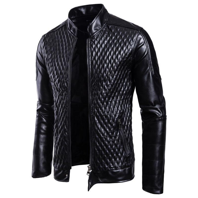 Moda Uomo Moto PU Giacche in pelle Uomo Autunno Inverno Slim Fit Giacche Uomo Business Fitness Casual Capispalla Casual