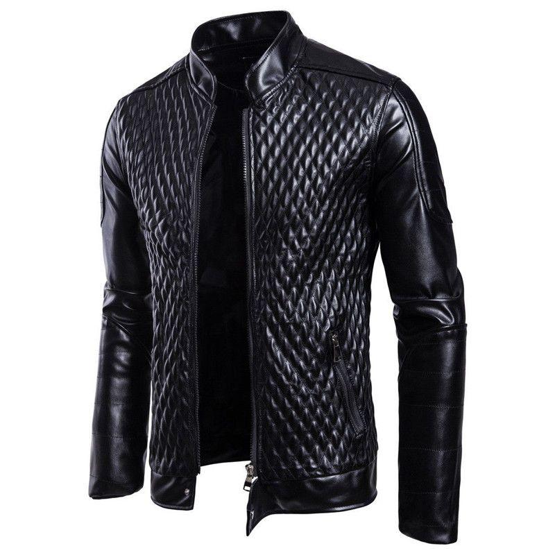 패션 남자 오토바이 PU 가죽 재킷 남자 가죽 가을 겨울 슬림 맞는 재킷 남성 비즈니스 휘트니스 캐주얼 아웃 츠 코트