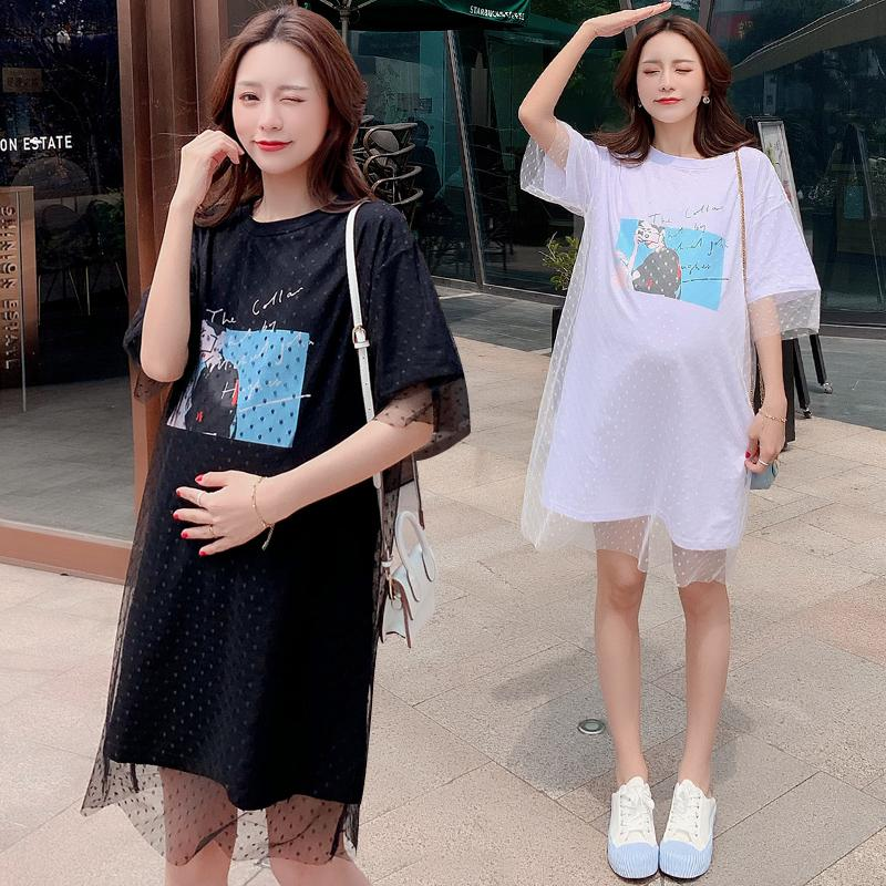 809#Maternity Clothes Summer Gauze Printing Short Sleeve Easy Matching Loose Stylish Dress for Pregnant Women Pregnancy Clothes
