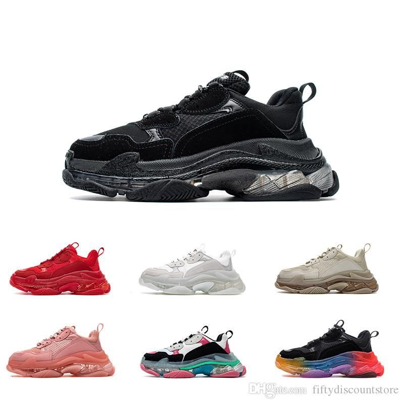 Frauen Männer Spur Schuh Dad beiläufige Schuh-Kristall Bottom Triple S Freizeit-Schuh-Turnschuhe für Männer Vintage alte Großvater Trainer chaussures MIT BOX