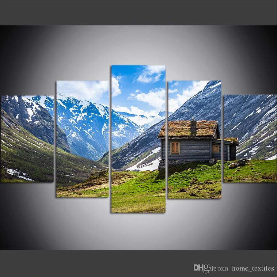 5 Piece Large Size Canvas Wall Art Pictures Creative Norwegian Valley Chalet Art Print Oil Painting for Living Room Decor