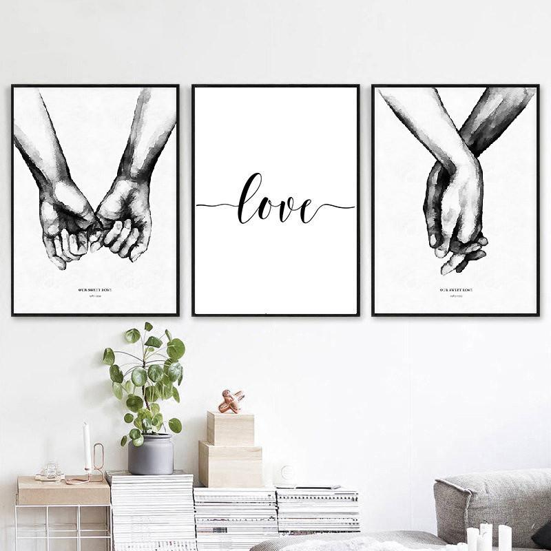 Nordic Black White Style Sweet Love Wall Art Canvas Poster Minimalist Print LOVE Quotes Painting Picture for Living Room Decor