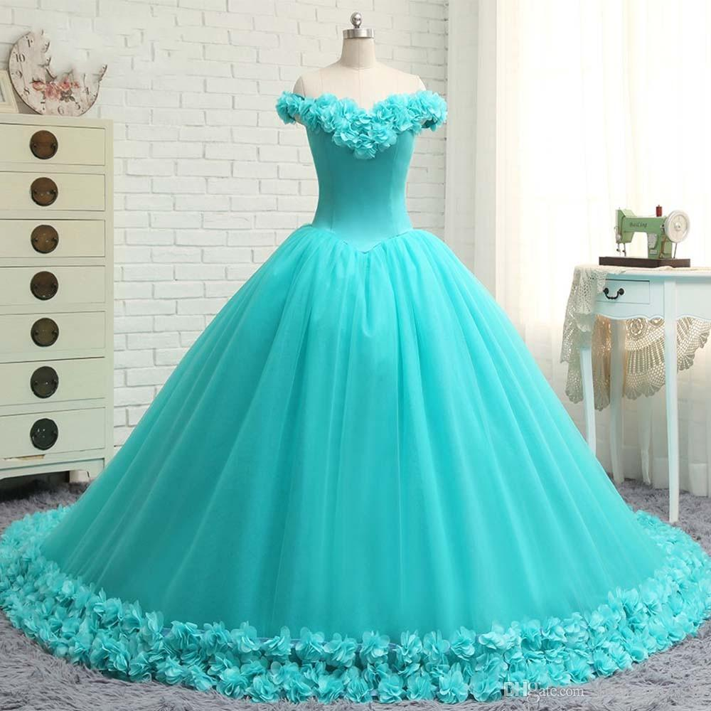 Romantic 3d Flowers Quinceanera Prom Dresses 2019 Ball Gown Off The Shoulder Tulle Long Train Designer Cheap Sweet 16 Dress Vestidos 15 Anos Ball