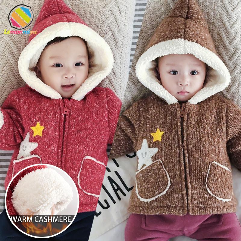 Lemonmiyu детские трикотажные пиджаки сгущаются плюс бархат хлопок мультфильм с капюшоном младенцев молнии куртки мода карманы новорожденных пальто CJ191202