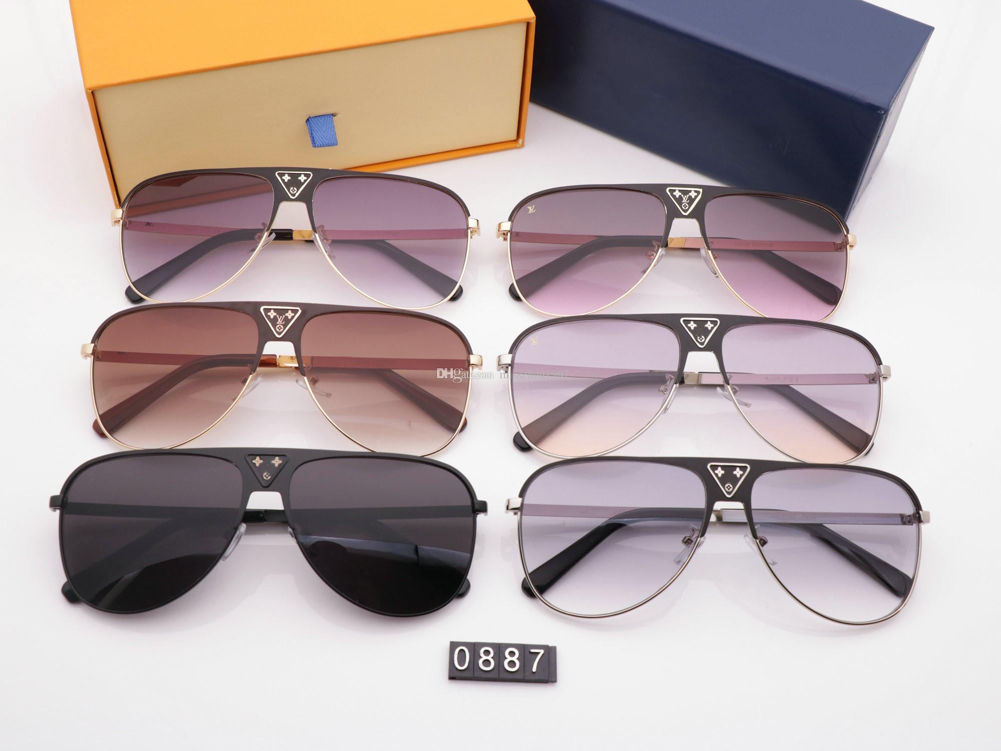 hot Luxus MILLIONäR 0887 Sonnenbrille volle Rahmen Vintage Designer-Sonnenbrillen für Männer Glänzende Gold Logo der heißen Verkauf Vergolden Oberseite mit Fall