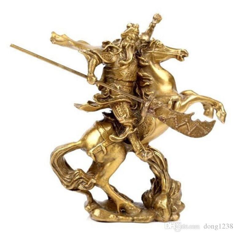 Chinese Old Hero Guan Gong Guan Yu ride on horse  bronze statue TR