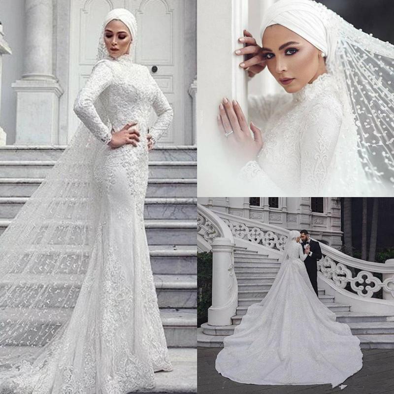 Modern Muslim Wedding Dresses Mermaid Lace Long Sleeve High Collar Saudi Arabic Bridal Dress With Hijab Veils Custom Made Vestidos De Novia Strapless Mermaid Wedding Dress Wedding Bridal Dresses From Queenshoebox 344 23