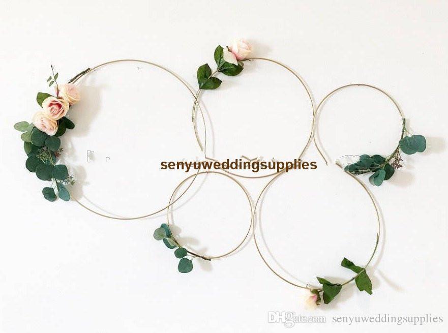 الأطواق المعدنية الذهبية لحضور حفل زفاف الشنق تسجيل / الزهور هوب الشنق لsenyu0450 الديكور backgroup الزفاف
