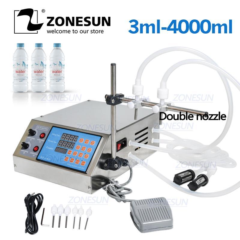 ZONESUN liquide Machine de remplissage électrique numérique de commande de pompe parfum Jus d'eau essentielle bouteille d'huile de remplissage avec 2 têtes