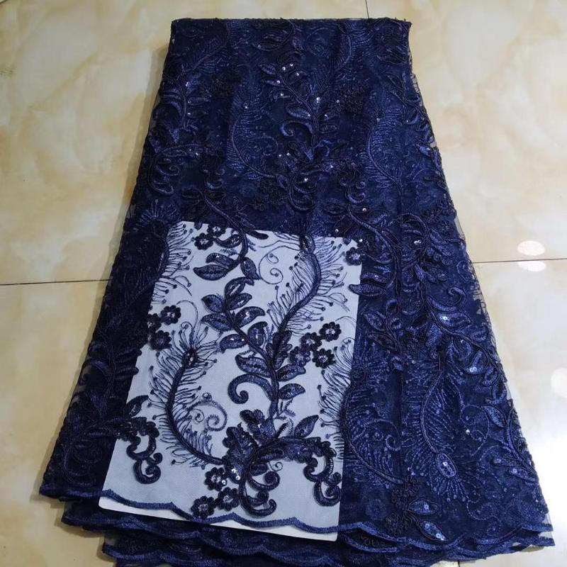 New Royal blue gold sequins lace fabric print fabric pleated chiffon 2020 women nigerian lace 5 yards wedding party dress