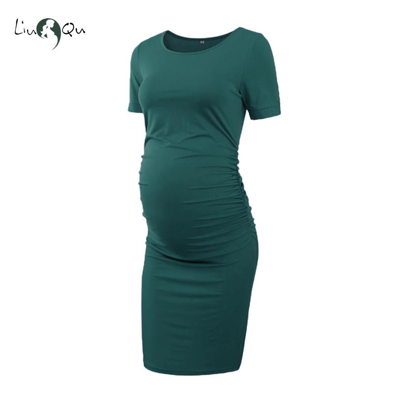 Women/'s Ladies Maternity Dress Short Sleeve Stretch V Neck Dress Wrap Summer F3