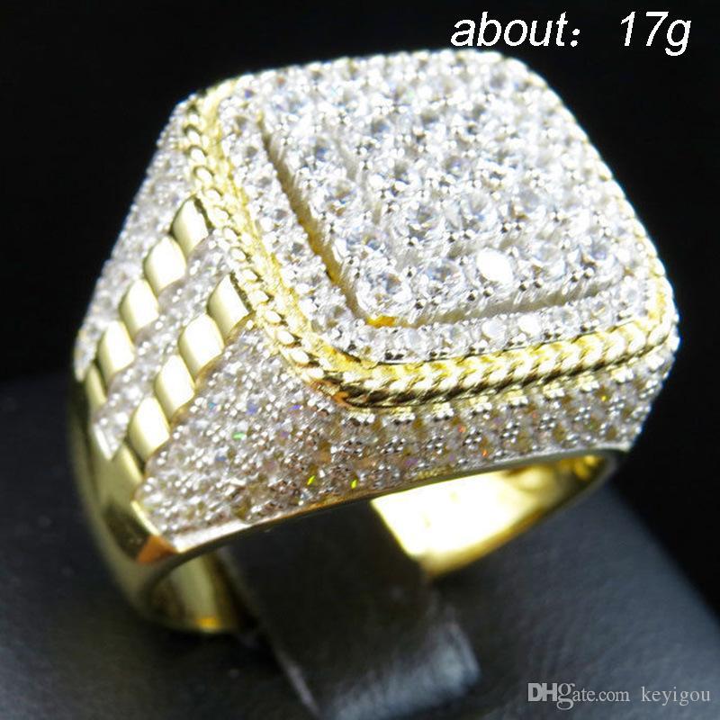 شخصية HIP هوب خواتم الزفاف بلينغ مثلج خارج ساحة خاتم كريستال لون الذهب الفولاذ المقاوم للصدأ للحصول على حجم مجوهرات رجال الولايات المتحدة 7-12