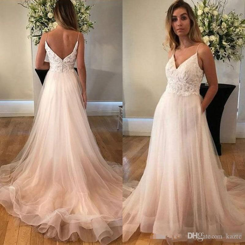 Discount 2019 Spaghetti Straps Wedding Dresses Lace Appliques Top Open Back Tulle Skirt Bridal Gowns Formal Dress Custom Made Wedding Designers
