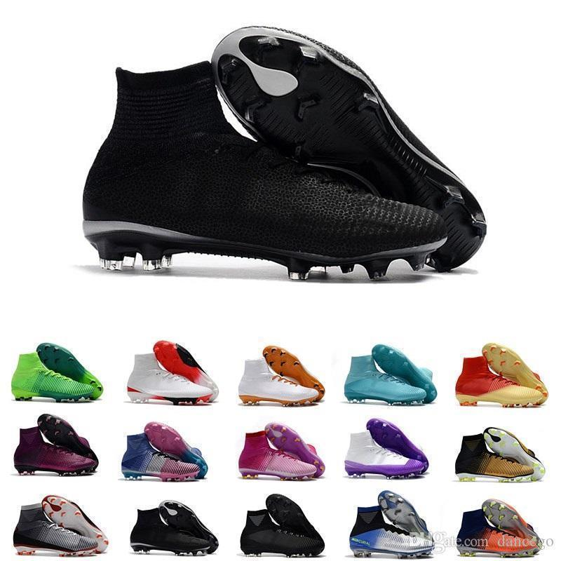New High Ankle Mercurial Superfly 11 Xi Soccer Shoes For Men Cr7 Fg Cristiano Ronaldo Neymar Jr Acc Socks Soccer Cleats Size39-45