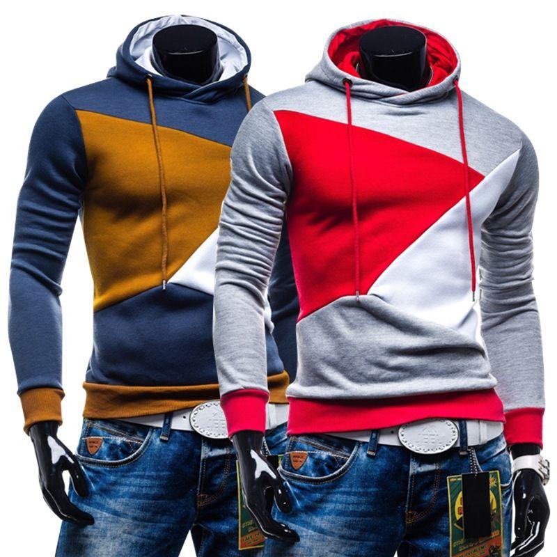 2019 Hot men's set of head bump color hooded long-sleeved fleece leisure men's clothing wholesale men's coat fashion sweatershirts