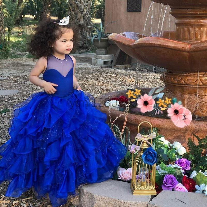 Princess Royal Blue Ball robe filles Pageant Robes de Mariée avec Sheer Jewel Cascading Ruffles Perles fleur fille robe enfant fête d'anniversaire