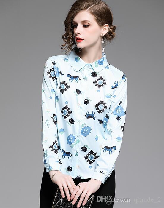 Mode blau Flora lange Hülsenfrauenblusen-Frauenhemden Frühjahr Sommerhemden Revers Ansatz Art und Weise Damen Shirt gedruckt