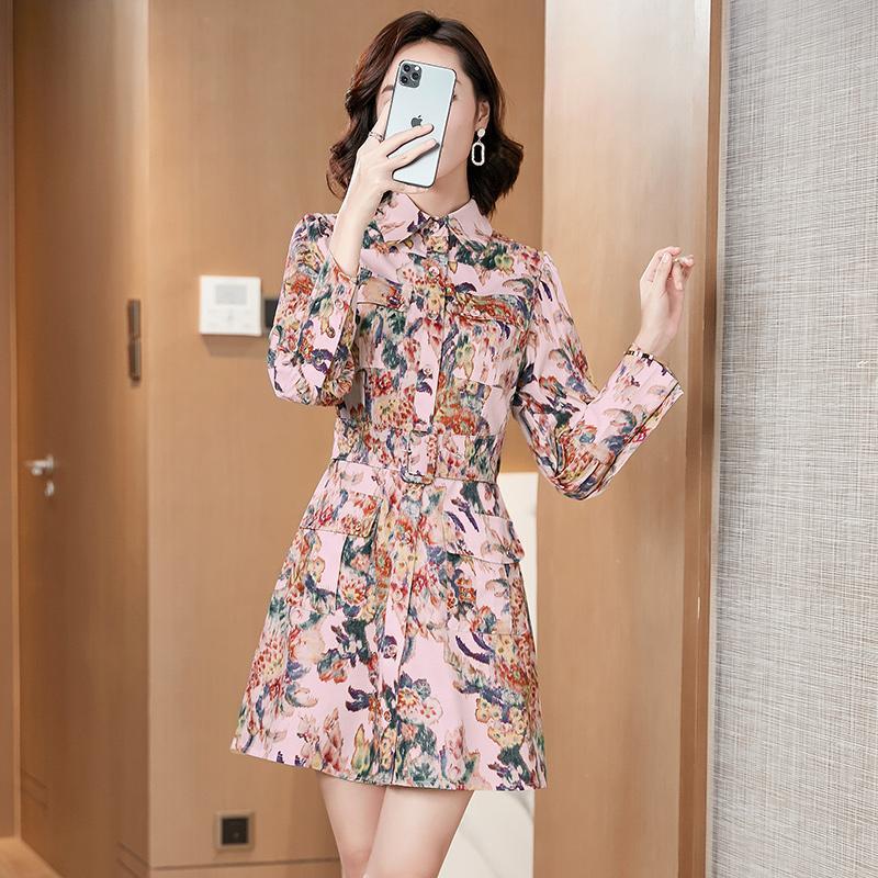 Vingtage élégante Imprimer Robe chemise femmes 2020 d'été vers le bas du cou tour Jupettes Robe boutonnée à manches longues Mini Party Vestidos