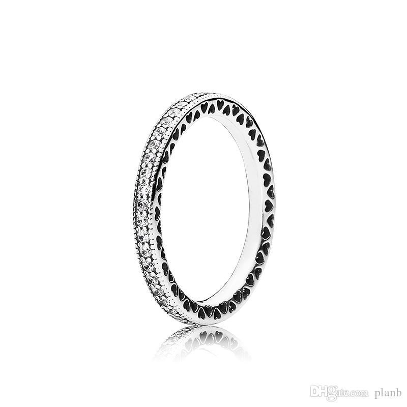 حقيقي 925 فضة تشيكوسلوفاكيا الماس الدائري مع مربع الأصلي صالح باندورا الزفاف خاتم الخطبة مجوهرات للنساء