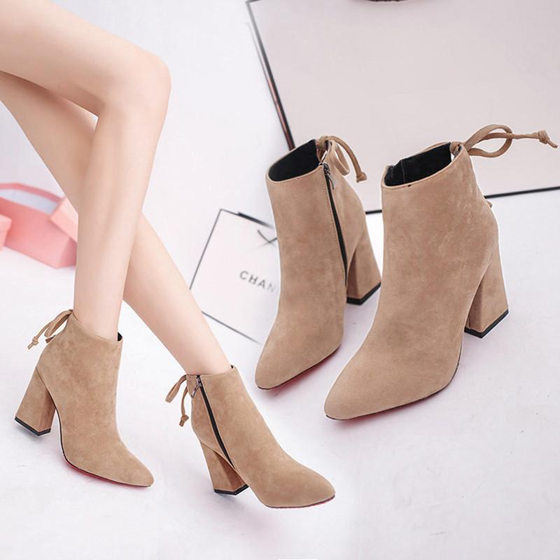 High Heels Shoes Ankle Women Boots Pointed Flock Square Heel Casual Shoes Autumn Female Lace-Up Fashion Soft Ladies Boot dfv678